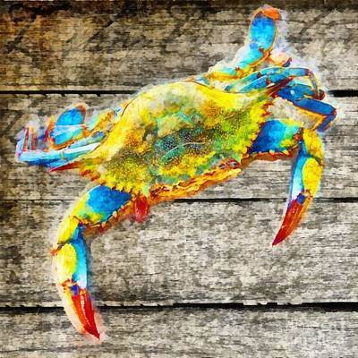 Signed Poster Painting - Blue Crabs by Edward Fielding