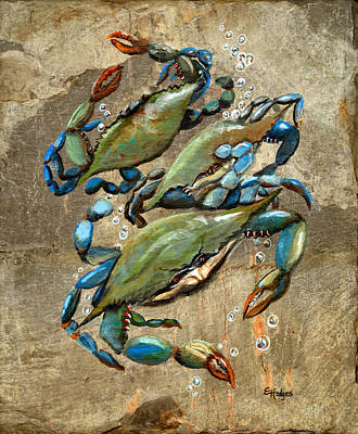Slate Painting - Blue Crabs by Elaine Hodges