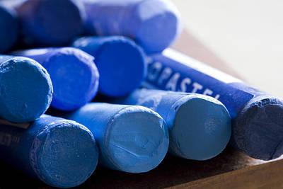 Blue Crayons Art Print by Frank Tschakert