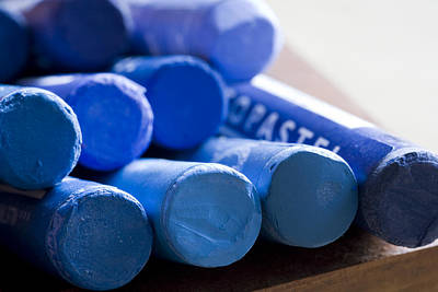 Crayons Photograph - Blue Crayons by Frank Tschakert
