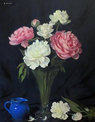 Painting - Blue Creamer With Peonies In Trumpet Vase by Robert Holden