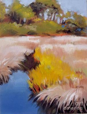 Peaceful Scene Painting - Blue Creek by Mary Hubley