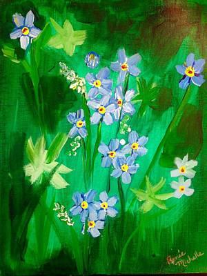 Blue Crocus Flowers Art Print