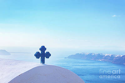 Photograph - Blue Cross On The Church Roof In Fira On Santorini Island, Greece. Aegean Sea. View by Michal Bednarek