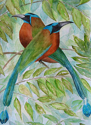 Painting - Blue Crowned Motmots by Patricia Beebe