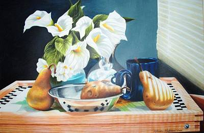 Blue Cup And Pear 3 Art Print by Sylvester Hickmon