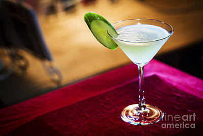 Martini Royalty-Free and Rights-Managed Images - Blue Curacao And Lime Martini In Bar At Night by Jacek Malipan