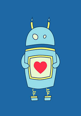 Robot Digital Art - Blue Cute Clumsy Robot With Heart by Boriana Giormova