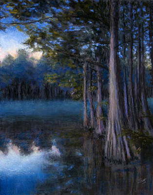 Pastel - Blue Cypress Morning by Susan Jenkins