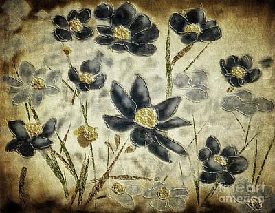 Digital Art - Blue Daisies by Lois Bryan