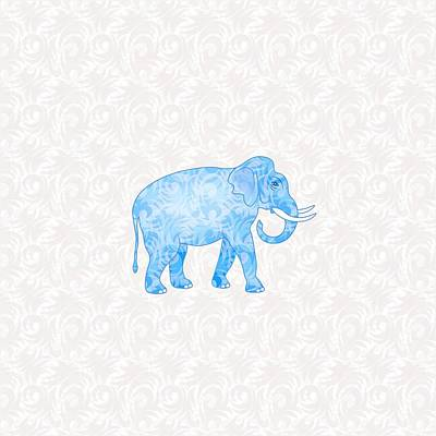 Blue Damask Elephant Art Print