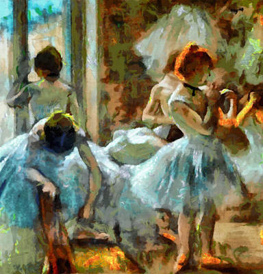 Edgar Home Painting - Blue Dancers In Modern Style by Mario Carini