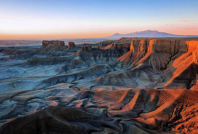 Blue Dawn In The Cainville Badlands. Art Print by Johnny Adolphson