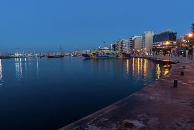 Photograph - Blue Dawn Serenity At Marsamxett Harbor Malta by Georgia Mizuleva