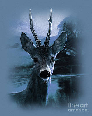 Whitetail Buck Painting - Blue Deer  by Gull G