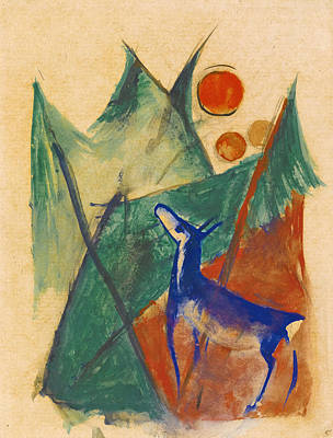 Franz Marc Drawing - Blue Deer In Landscape by Franz Marc