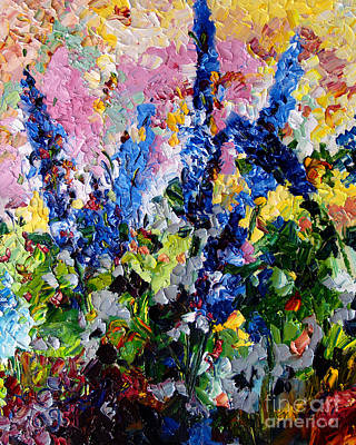 Painting - Blue Delphiniums Impressionist Oil Painting by Ginette Callaway