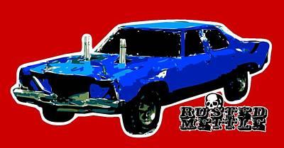 Blue Demo Derby Car Art Print by George Randolph Miller