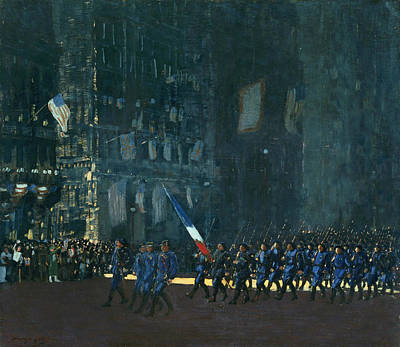New York Painter Painting - Blue Devils On Fifth Avenue by George Luks
