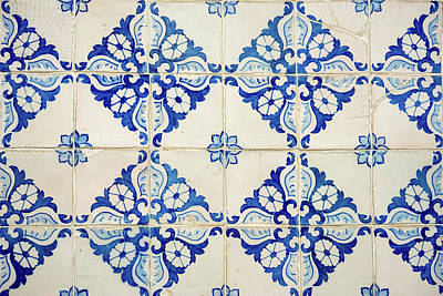 Photograph - Blue Diamond Flower Tiles by For Ninety One Days