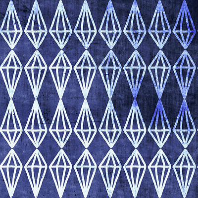 Blue Diamond Stripe- Art By Linda Woods Art Print