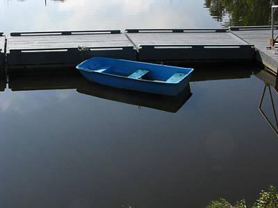 Blue Dinghy Quiet Waters Art Print