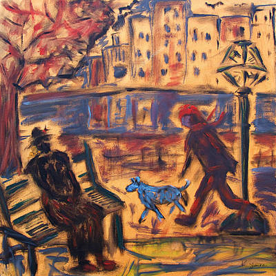 Painting - Blue Dog In The City by Katt Yanda