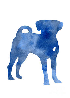 Puggle Painting - Blue Dog Kids Wall Decor by Joanna Szmerdt