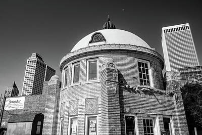 Photograph - Blue Dome District - Tulsa Skyline Architecture - Black And White by Gregory Ballos
