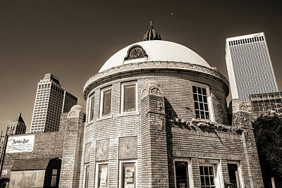 Photograph - Blue Dome District - Tulsa Skyline Architecture - Sepia  by Gregory Ballos