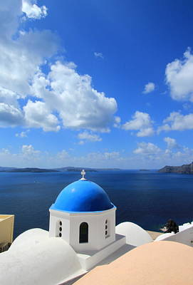 Photograph - Blue Dome Of A Church, Oia, Santorini, Greece by Elenarts - Elena Duvernay photo