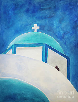 Blue Domed Church Greece Original by Sophie McAulay
