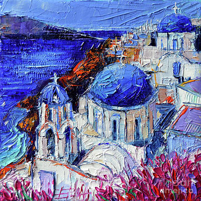 Painting - Blue Domed Churches In Oia Santorini - Mini Cityscape 08 - Palette Knife Oil Painting by Mona Edulesco