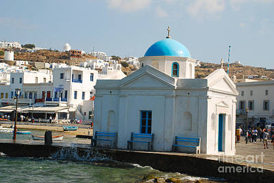 Island Photograph - Blue Domed Seaside Church - Mykonos Island Greece by Just Eclectic