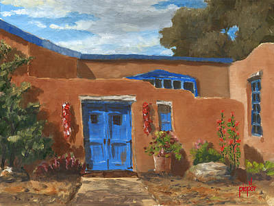 Blue Door And Ristras Original by Ken Pieper