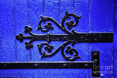 Photograph - Blue Door Closeup At St Patricks Cathedral Dublin Ireland by Vizual Studio