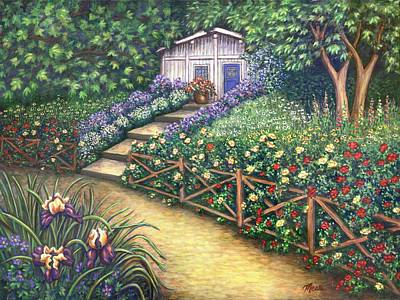 Garden Flowers Painting - Blue Door by Linda Mears