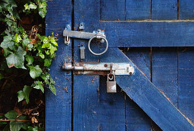 Blue Door Lock And Bolt Art Print by Jeff Townsend