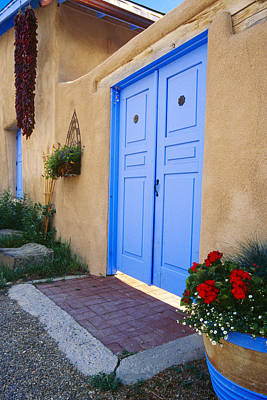 Blue Door Of An Adobe Building Taos New Mexico Art Print by George Oze