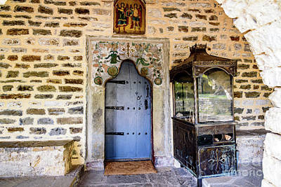 Photograph - Blue Door On Stone Church In The Zagori, Greece by Global Light Photography - Nicole Leffer