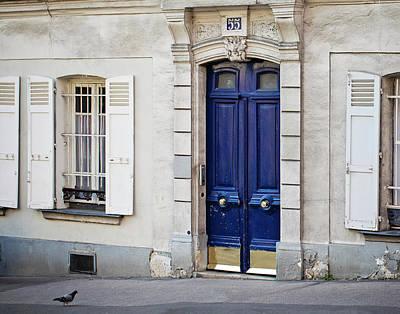 Photograph - Blue Door - Paris, France by Melanie Alexandra Price
