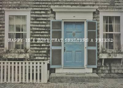 Blue Door Quote Art Print by JAMART Photography