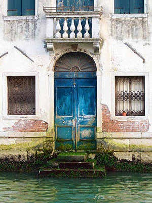 Photograph - Blue Door With Algae by David Beebe
