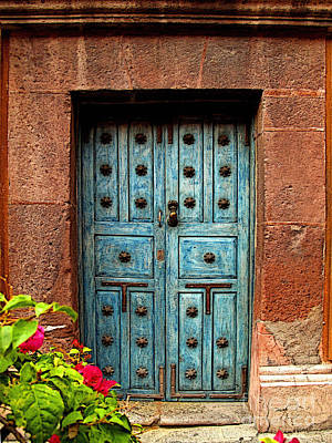 Portal Photograph - Blue Door With Bougainvilleas by Mexicolors Art Photography