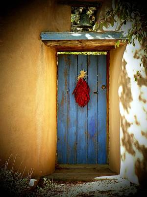 Blue Door With Chiles Art Print