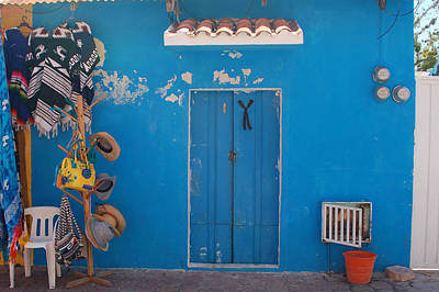 Blue Doors In Mexico Art Print by Mary Pearson