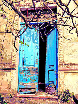 Blue Doors In Tuscany Art Print