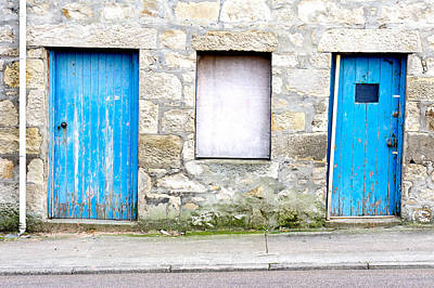 Boarded Up Photograph - Blue Doors by Tom Gowanlock