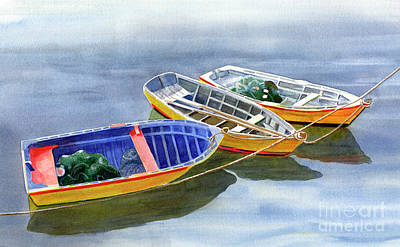 Small Boat Painting - Blue Dory by Sharon Freeman