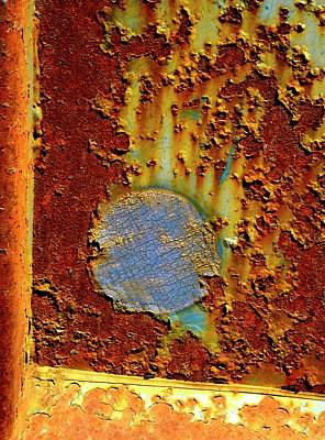 Photograph - Blue Dot Metal by Jerry Sodorff